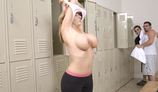 Unattractive with huge tits gets it in bathroom