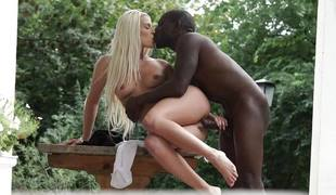 Sexy natural blonde Blanche Bradburry rammed by dark cock