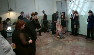 Hellacious slut receives a rough group thrashing for her twat