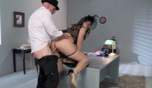 Chanel Preston in high heels, gloves and and g-string gets detective Johnny Sins hot! No thing can't stop him from drilling him from drilling her wet leftist pussy. She gets slammed on the edge of a desk.