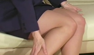Savoury playgirl looks arousing in sexy black hose