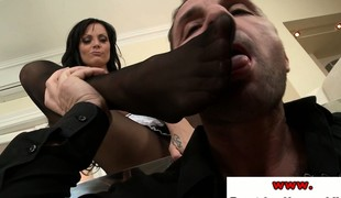 Sheila Grant surrounding stockings teasing with won't hear of soles