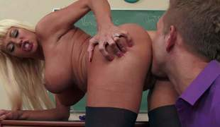 His teacher Nikita Von James is a fuck vitalized perfect bodied milf with elephantine tits with the addition of shapely ass. This babe gets her pussy fucked right at the end of one's tether insatiable student guy. This busty milf cant get enough!