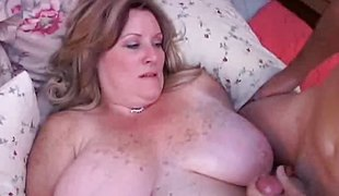 Freckled adult fatty gets pounded from below