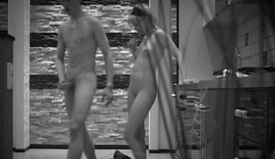 Black-and-white lens of the camera films as A legal age teenager pair enjoys sex
