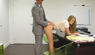 Blonde secretary bent over her desk added to fucked