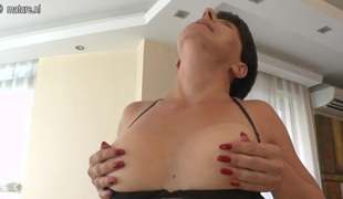 Brunette harpy is masturbating her wet tight cunt hole alone