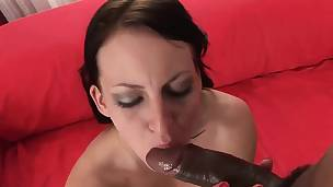 Monster black strapon for a raven-haired cutie