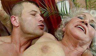 Hairy granny takes moneyed hard and raw