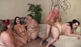Chubby babes screwed alongside group sex