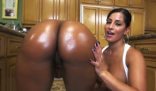 Darky with juicy booty and Nina Rotti strips naked previous to they have unthinkable lesbian sex gather up