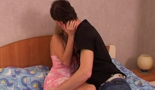 Doggy-style banging of a horny golden-haired`s squelching cum-hole hole