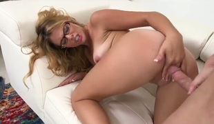 Blonde whore fucking yourself with dildo