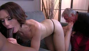 Sarah Shevon is sex hungry cuz her disabled older husband can not give her sexual satisfaction. She gets her toes sucked by her husband and sucks big treacherous dick at the same time in interracial cuckold action with slavish fetish