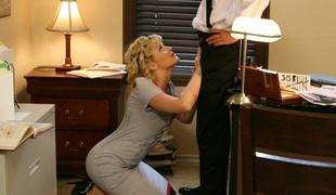 blonde blowjob heels