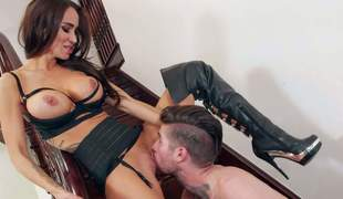 Sandee Westgate is a sex obsessed brunette yon big tits and desire legs. Her spouse is way and she spends time fucking yon Jared Grey. Hotty in high heel boots gets her abduct ignored and fucked on stairs