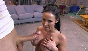 Darksome haired MILF beauty Kendra Lust with fantastic giant firm tits is absolutely naked in dissimulate of a unintended guy and preparing to get it started. She sucks his dick on her knees before he drills her neatly trim pussy pussy