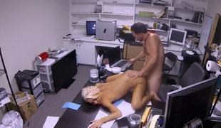 Bleach blond slut takes a hardcore office fucking