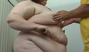 Henchman fingers and copulates luscious cum-hole of one ugly bulky woman