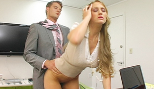 Long haired Abby bent cede her desk and fucked